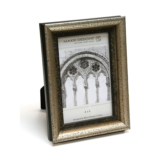 AREZZO FRAME, ANTIQUE SILVER WITH BLACK, 4X6