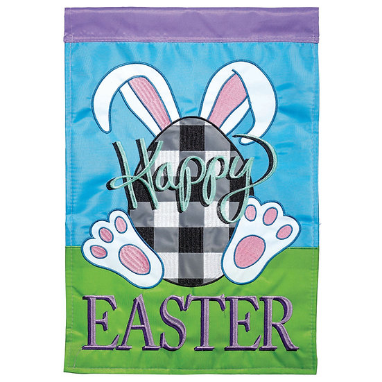 HAPPY EASTER DOUBLE-SIDED GARDEN FLAG AND FLAG HOLDER SET