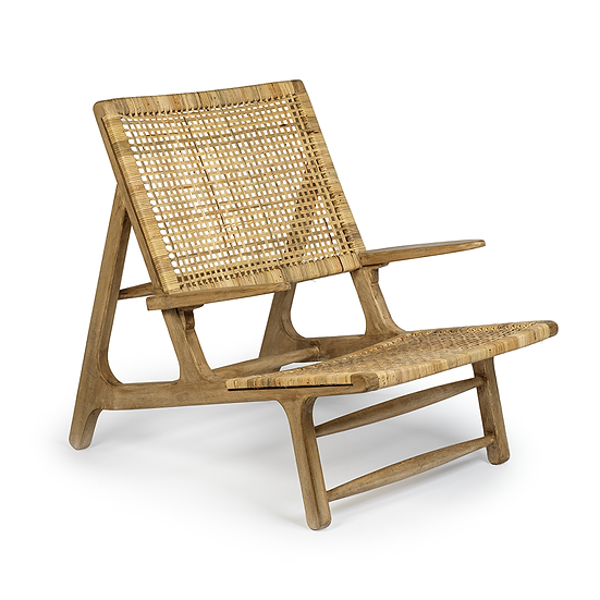 SAND RIVER MANGO WOOD AND CANE LOUNGE CHAIR