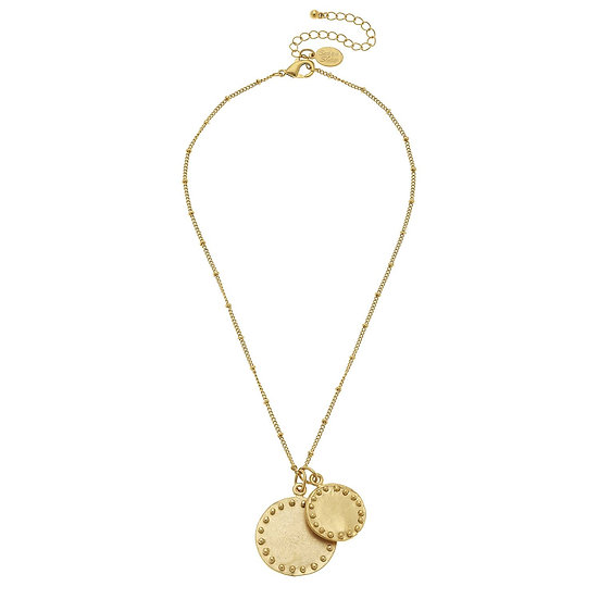 DOUBLE CIRCLE WITH DOTS CHAIN NECKLACE