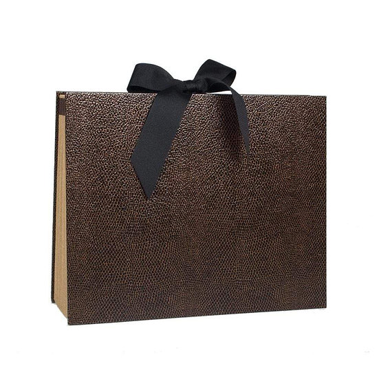 SNAKESKIN ACCORDION FILE IN BROWN AND BLACK