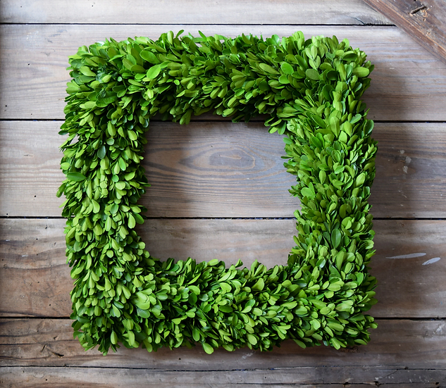 "PRESERVED BOXWOOD WREATH, 16"" SQUARE"