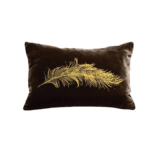VELVET FEATHER ACCENT PILLOW - CHOCOLATE / GOLD FOIL