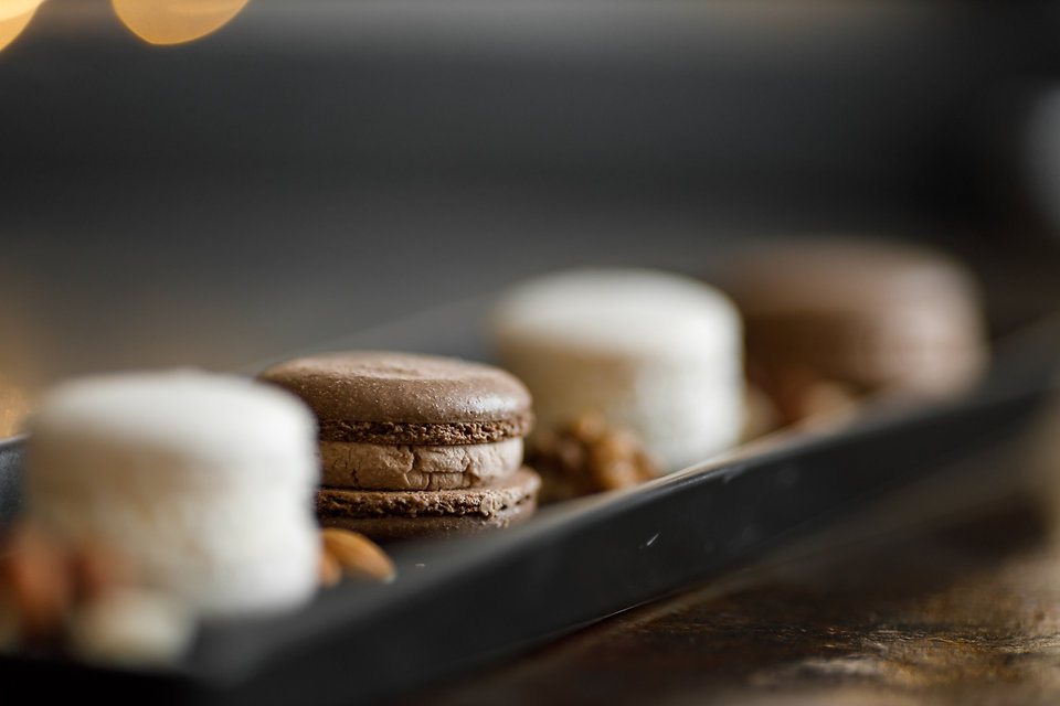 French chocolate macaron with nuts