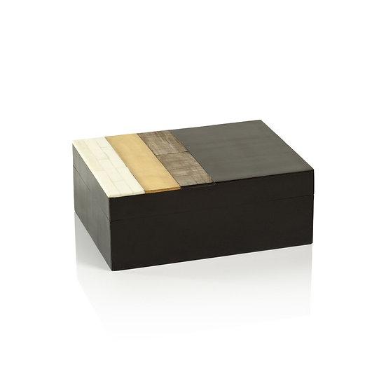 BENAGIL SHAGRIN HORN, BONE & BRASS BOX