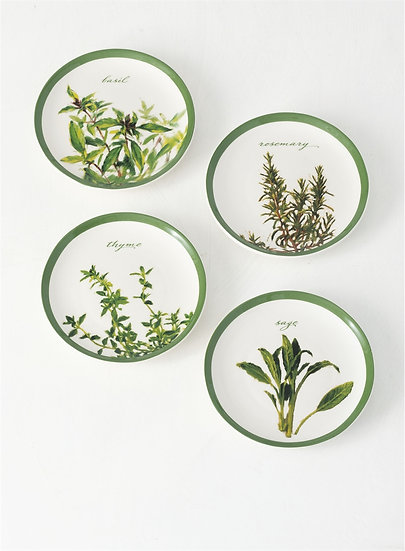 HERB APPETIZER PLATES, SET OF 4