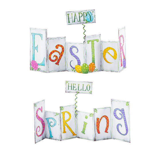 ROUND TOP COLLECTION REVERSIBLE EASTER / SPRING ACCORDION SIGN