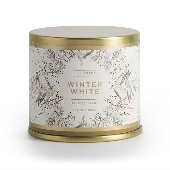 WINTER WHITE LARGE TIN CANDLE