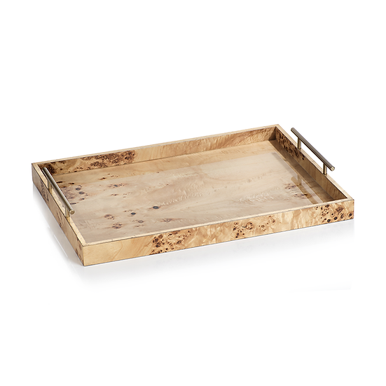 LEIDEN BURL WOOD DESIGN RECTANGULAR TRAY WITH GOLD HANDLES