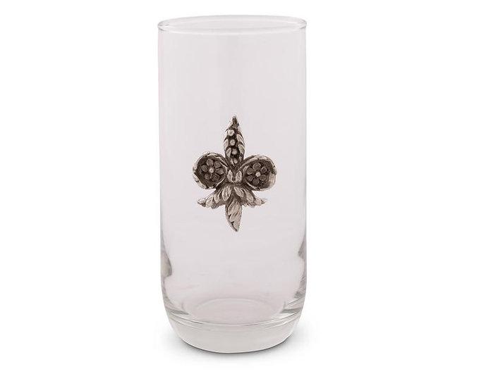 FLEUR DE LIS ICED TEA GLASSES, SET OF 4