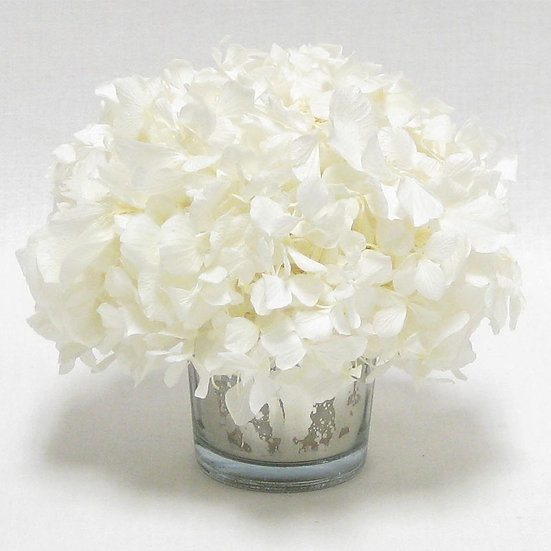 MINI PRESERVED WHITE HYDRANGEA IN MERCURY GLASS VOTIVE