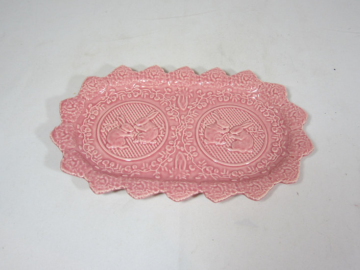 PINK RETRO RABBIT PLATTER FROM PORTUGAL, DISCONTINUED PATTERN
