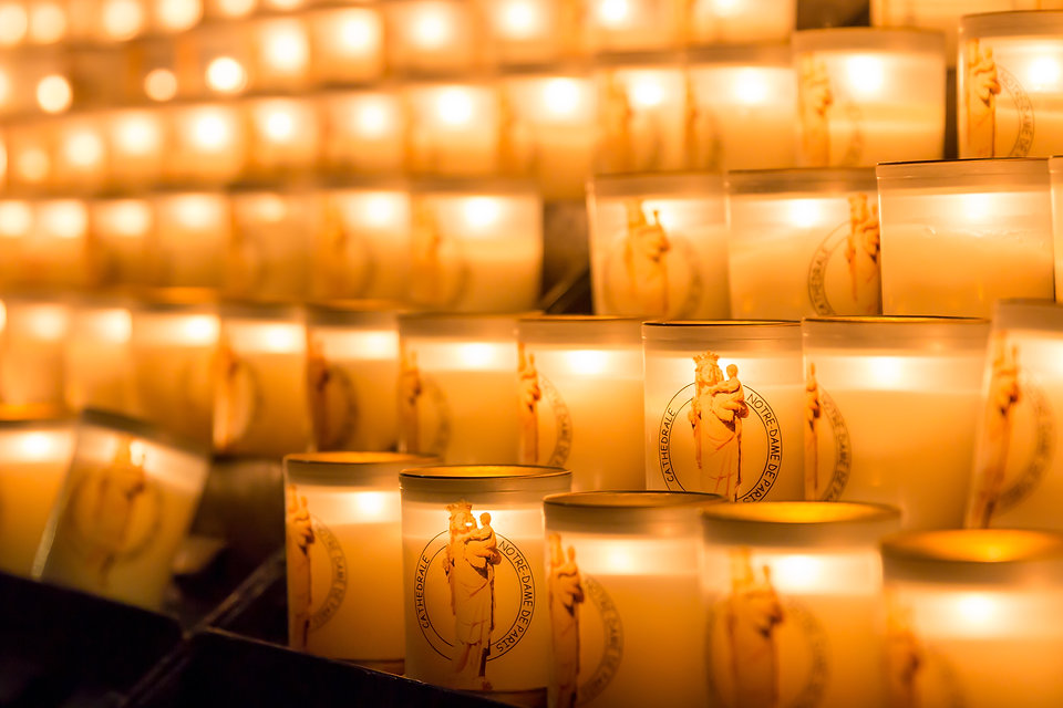 Display of candles in the French cathedr