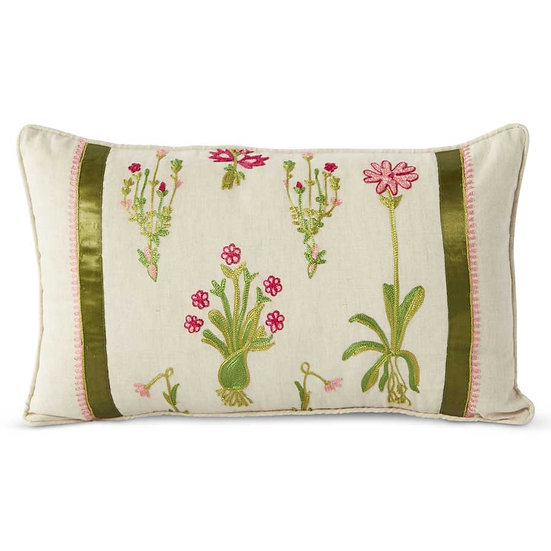 LINEN PILLOW WITH EMBROIDERED FLOWERS AND GREEN RIBBON