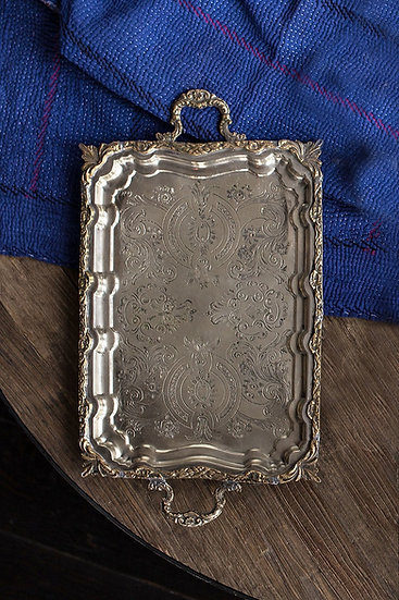 VINTAGE SILVER FOOTED TRAY
