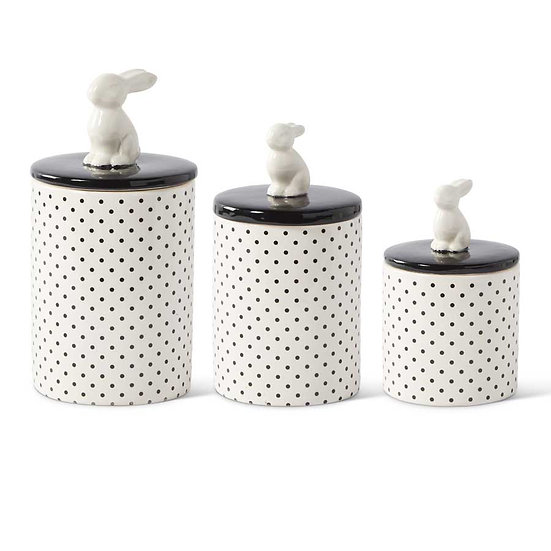 CERAMIC BUNNY CANISTERS, SET OF 3