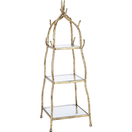 AGED GOLD VINE TABLETOP DISPLAY WITH GLASS SHELVES