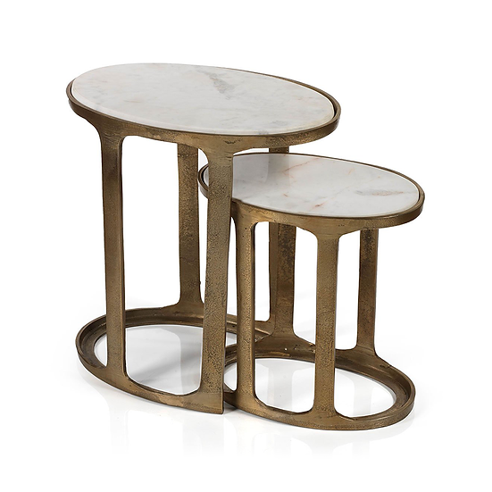NIKKI OVAL MARBLE AND RAW ALUMINUM NESTING TABLES