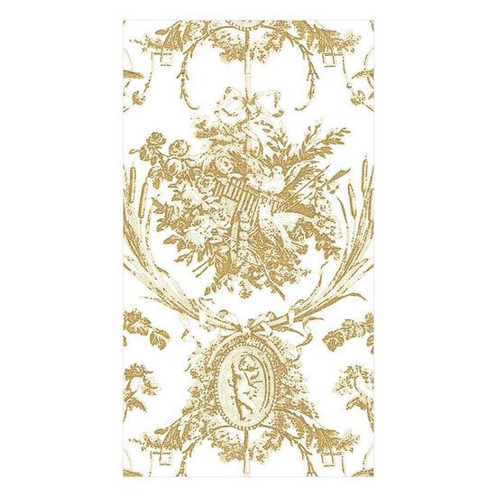 ROMANTIC TOILE GUEST TOWEL NAPKINS IN GOLD