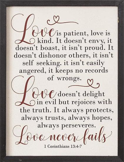 LOVE NEVER FAILS WALL ART