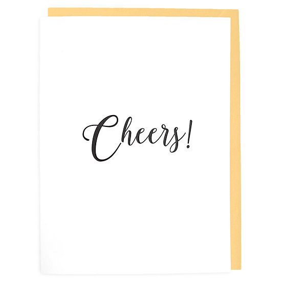 CHEERS LETTERPRESS GREETING CARD WITH ENVELOPE