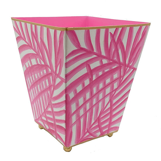 """PINK PALM SQUARE CACHEPOT 6"""""""