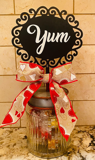 """ROUND TOP COLLECTION """"YUM"""" CANDY JAR"""