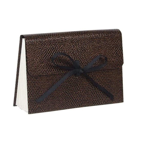 SNAKESKIN SMALL ACCORDION FILE IN BROWN AND BLACK