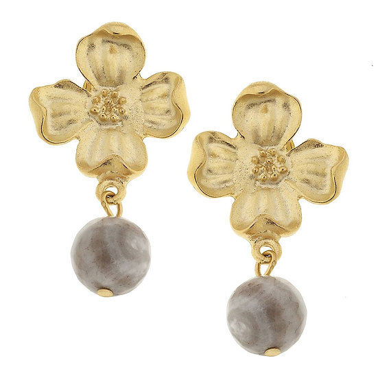 DOGWOOD FLOWER WITH SILVER LACE AGATE EARRINGS