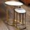 Thumbnail: NIKKI OVAL MARBLE AND RAW ALUMINUM NESTING TABLES