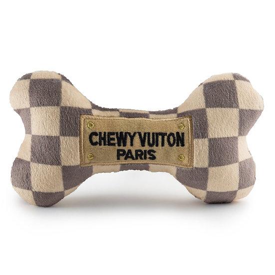 CHECKER CHEWY VUITON BONE TOY - LARGE