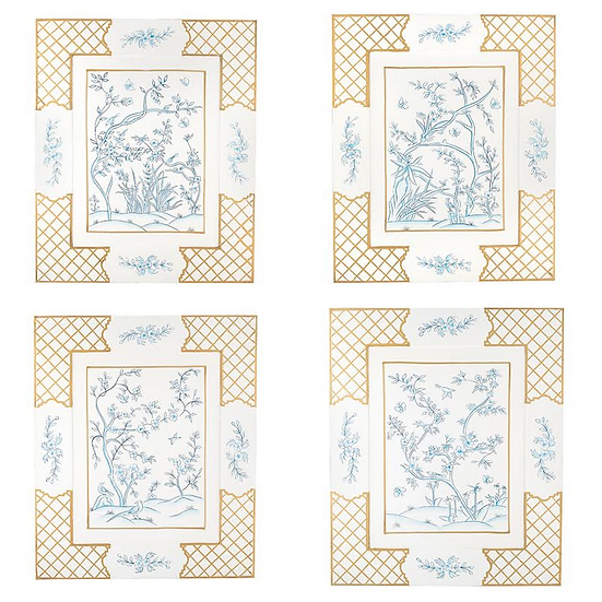 CHINOISERIE HAND-PAINTED ART, SET OF 4