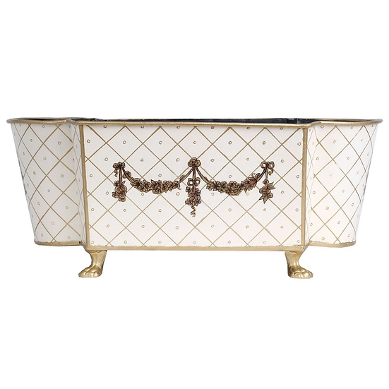 LARGE IVORY/GOLD SCALLOPED PLANTER