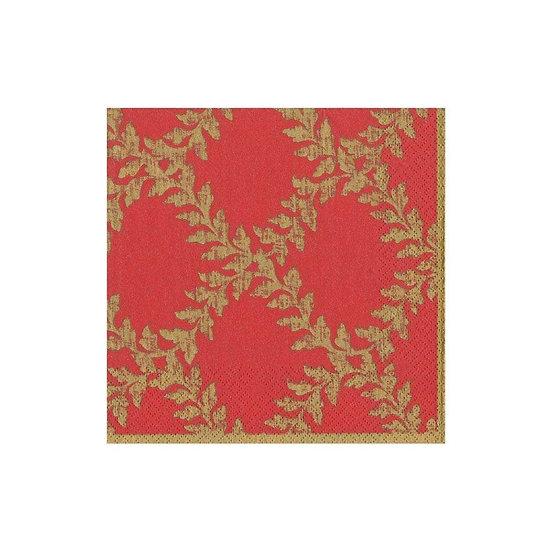 ACANTHUS TRELLIS RED PAPER COCKTAIL NAPKINS