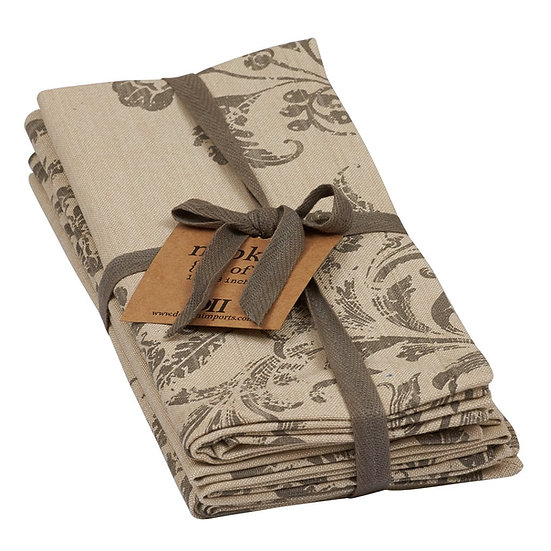 FRENCH SCROLL PRINTED NAPKINS, SET OF 4