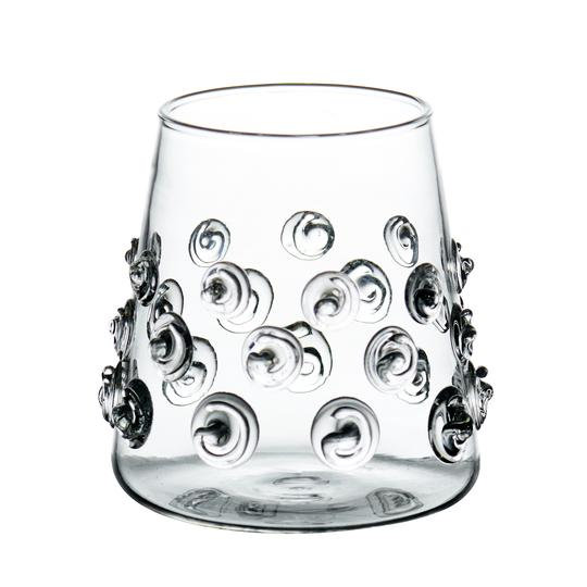 VOTIVES WITH GLASS-APPLIED SWIRLS, SET OF 2