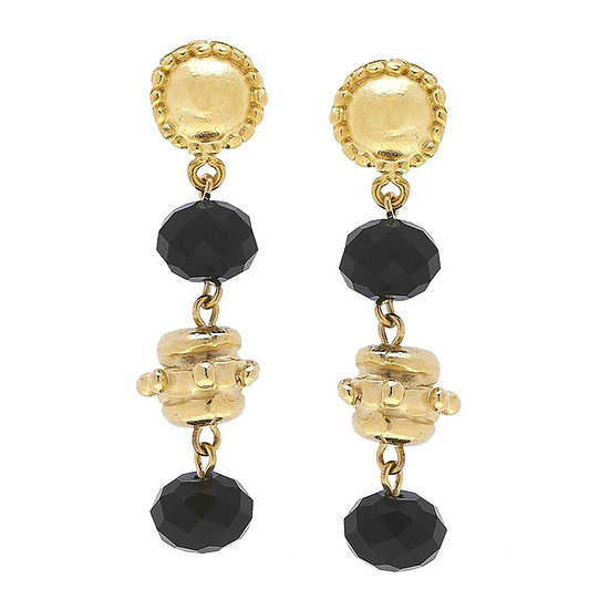 GOLD BEAD AND BLACK CRYSTAL EARRINGS