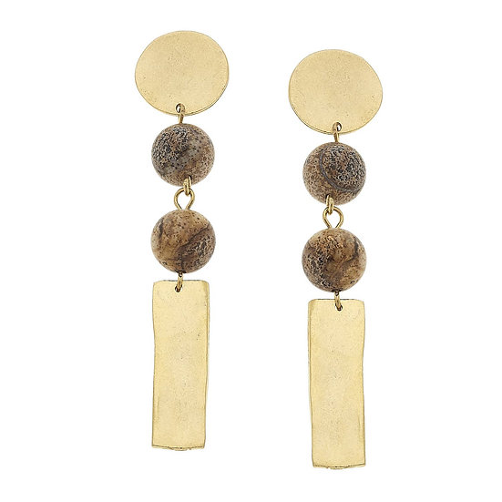 ROUND TOP WITH NATURAL COLORED STONE AND BAR DROP EARRINGS