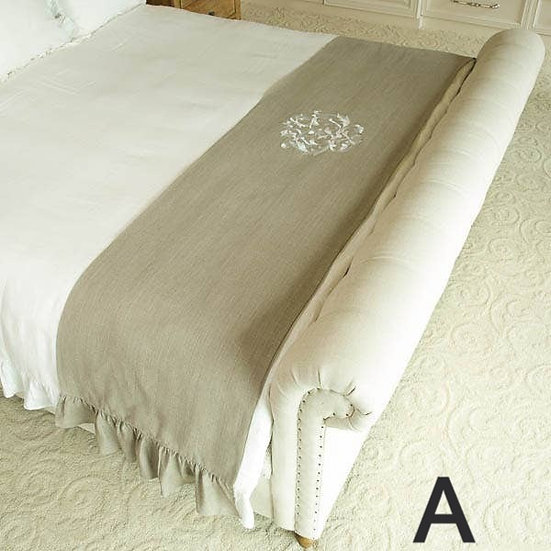 DAMASK LINEN BED SCARF (2 COLOR OPTIONS)