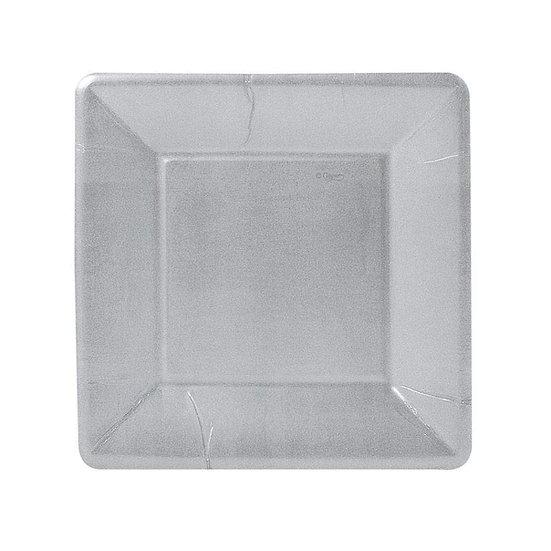 SOLID SQUARE PAPER SALAD AND DESSERT PLATES - SILVER LEAF