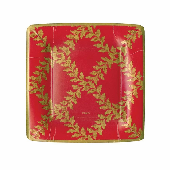 ACANTHUS TRELLIS RED SQUARE PAPER SALAD AND DESSERT PLATES