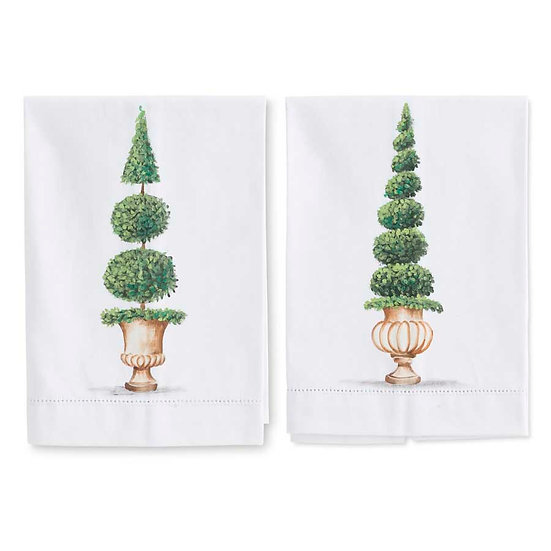 HANDPAINTED TOPIARY GUEST TOWELS, SET OF 2