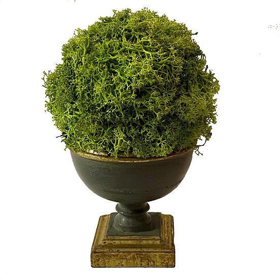 REINDEER MOSS TOPIARY BALL IN WOODEN FOOTED BOWL