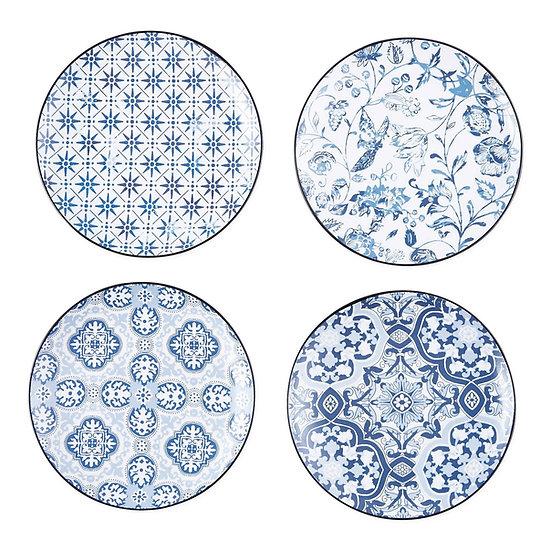 PORTO BLUE TILE PORCELAIN APPETIZER/DESSERT PLATES, SET OF 4