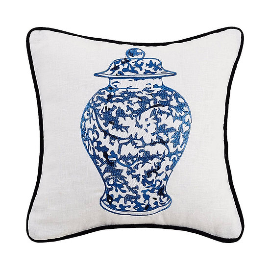 CHINOISERIE VASE WITH LID EMBROIDERED PILLOW