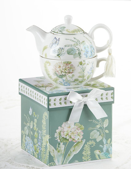 PORCELAIN TEA FOR ONE IN GIFT BOX, BLUE HYDRANGEA