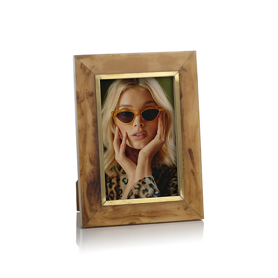 HORN DESIGN INLAID PHOTO FRAME WITH BRASS ACCENT, 4X6