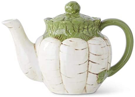 WHITE CARROT TEAPOT WITH GREEN TOP