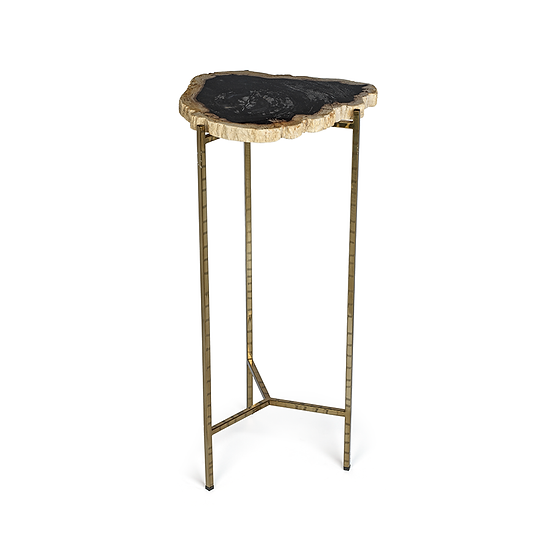 PORTO ALEGRE PETRIFIED WOOD SIDE TABLE - TALL
