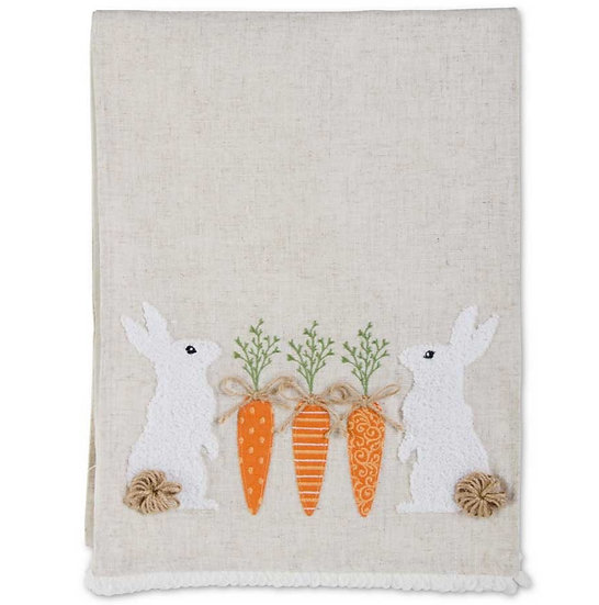 LINEN TABLE RUNNER WITH RABBITS AND CARROTS
